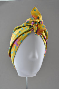 Luxury 100% pure silk Turban & Head wrap - Liberty of London Yellow Floral - Tot Knots of Brighton
