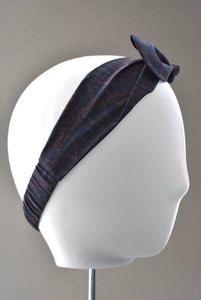 Ladies Tot Knot hairband - Liberty of London Navy and lilac Silhouette