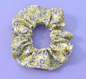 Yellow, White and Black Floral Liberty of London print Scrunchie - Tot Knots of Brighton