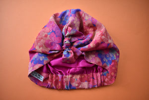 Luxury 100% pure silk Turban & Head wrap - Liberty of London Artist Emerald Bay printed silk