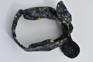 Kids Tot Knot Tie hairband - Liberty of London Wild Flowers in black print