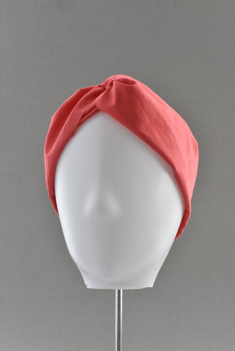 Coral Red Liberty of London  - Twisted Turban hairband and neck scarf - Tot Knots of Brighton