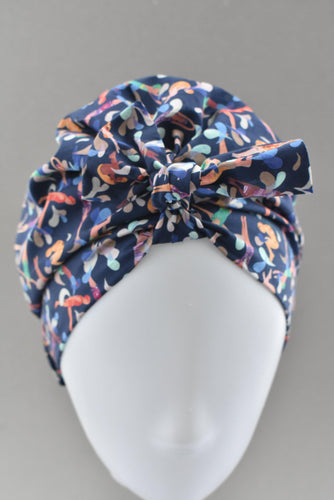 Ladies Turban Hat - Liberty of London Swimmers print - Tot Knots of Brighton