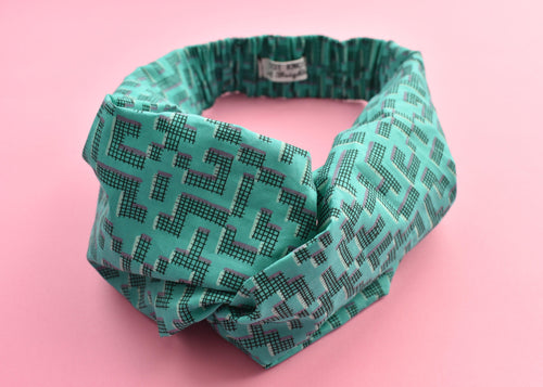 Turquoise Green Geometric Twisted Turban hairband and neck scarf - Tot Knots of Brighton