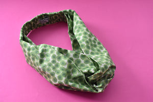 Ladies Twisted Turban hairband and neck scarf - Liberty of London Xanthe Sunbeam Green