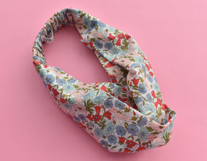 Poppy and Daisy Floral Twisted Turban hairband and neck scarf-Adult hairband-Tot Knots of Brighton