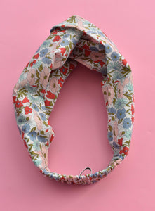Poppy and Daisy Floral Twisted Turban hairband and neck scarf - Tot Knots of Brighton