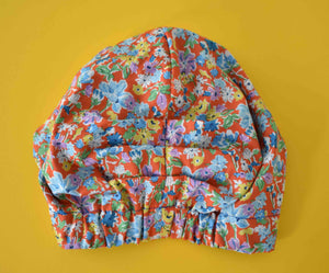 100% silk lined Turban sleeping cap in Bright Floral Red Liberty print - Tot Knots of Brighton