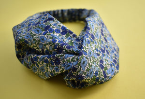 Petal and Bud - Blue Floral Twisted Turban hairband and neck scarf - Tot Knots of Brighton