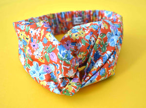 Californian Red Floral Liberty of London  - Twisted Turban hairband and neck scarf - Tot Knots of Brighton