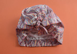 100% silk lined Turban & Head wrap in original 1970s Pink Paisley Liberty print - Tot Knots of Brighton