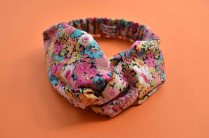 Tot Knot Twisted hairband - Thorpe Pink and Blue Floral - Tot Knots of Brighton