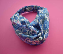 Betsy Blue and Pink Floral Twisted Turban hairband and neck scarf - Limited Edition - Tot Knots of Brighton