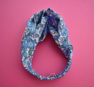 Tot Knot Twisted hairband - Betsy Pink and Blue Floral - Tot Knots of Brighton