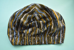 Vintage Luxury 100% pure silk Turban & Head wrap - Liberty of London Stripes (c.1960s)