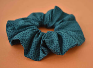 Green and Black Floral Graphic Scrunchie - Tot Knots of Brighton