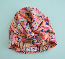Little Land Girl Baby Hat - Original 1980s Liberty of London Bright Orange Leaf  - Limited Edition - Tot Knots of Brighton