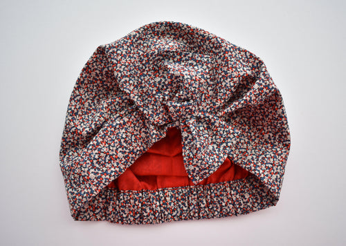 100% silk lined Turban & Head wrap Red White and Blue Liberty Pepper print - Tot Knots of Brighton