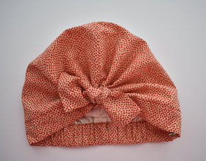 100% silk lined Turban & Head wrap in Red and White Floral Marco Liberty print - Tot Knots of Brighton