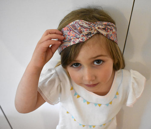 Tot Knot Twisted hairband - Limited Edition Pink Paisley original 1970s fabric - Tot Knots of Brighton