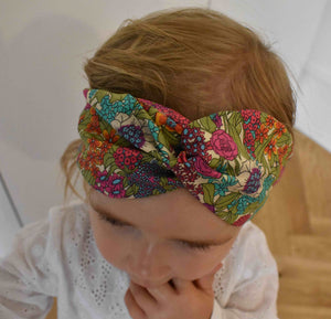 Tot Knot Twisted hairband - Ciara Pink Foxglove Floral - Tot Knots of Brighton