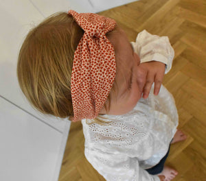 Tot Knot Twisted hairband- Red and White Floral - Tot Knots of Brighton