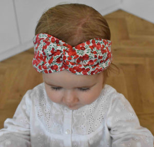 Tot Knot Twisted hairband - Wiltshire Red and White Berry - Tot Knots of Brighton