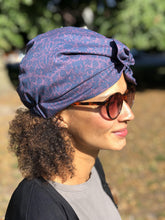 Ladies Turban Hat - Liberty of London Navy and Lilac Silhouette