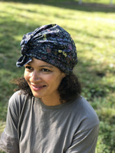 Ladies Turban Hat - Liberty of London Black Wild Flower