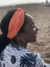 Ladies Twisted Turban Headband - Liberty of London Tangerine Orange