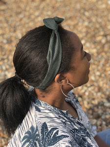 Ladies Tot Knot hairband - Liberty of London Green and Black print