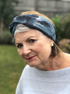 Navy and Denim Blue Sybil Campbell Twisted Turban hairband and neck scarf in Liberty of London