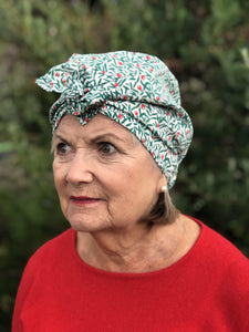 Ladies Turban Hat - Liberty of London Juniper Berry Red & Green floral print-Adult Turban Hat-Tot Knots of Brighton