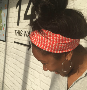 Ladies Twisted Turban hairband and neck scarf in Liberty of London Jonathan Red and White graphic print-Adult hairband-Tot Knots of Brighton