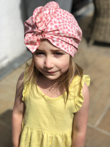 Little Land Girl Baby Hat - Liberty of London Pink Floral-Baby Turban Hat-Tot Knots of Brighton