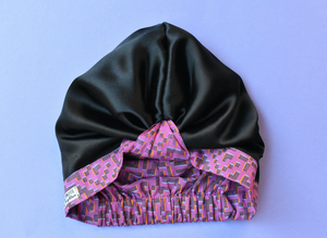 100% silk lined Turban & Head wrap in pink Liberty of London - Tot Knots of Brighton