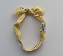 Tot Knot hairband - Yellow and White Midnight Mischief Animal Print - Tot Knots of Brighton