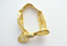 Ladies Tot Knot hairband- Yellow and White Midnight Mischief Animal Print - Tot Knots of Brighton
