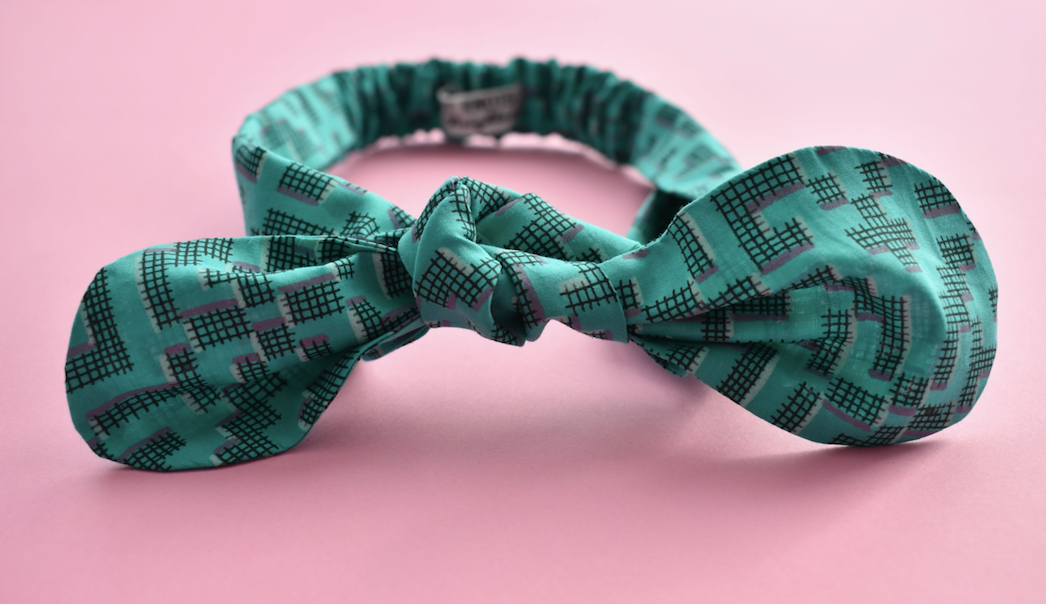 Ladies Tot Knot hairband - Turquoise Green Geometric - Tot Knots of Brighton