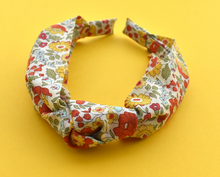 Kids Tot Knot Alice band - Liberty of London yellow D'anjo print - Tot Knots of Brighton