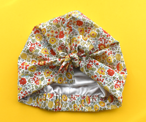 Ladies Turban Hat - Liberty of London Yellow D'anjo Floral - Tot Knots of Brighton
