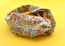 Ladies Twisted Turban Headband - Liberty of London Yellow D'anjo Floral - Tot Knots of Brighton
