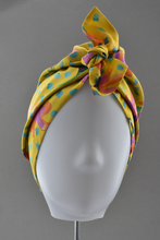 Luxury 100% pure silk Turban & Head wrap - Liberty of London Yellow Floral-Adult Turban Hat-Tot Knots of Brighton