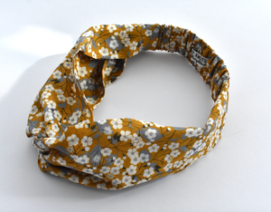 Ladies Twisted Turban Headband - Liberty of London Yellow Mustard Floral