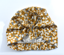Little Land Girl Baby Hat - Liberty of London Mustard Floral-Baby Turban Hat-Tot Knots of Brighton