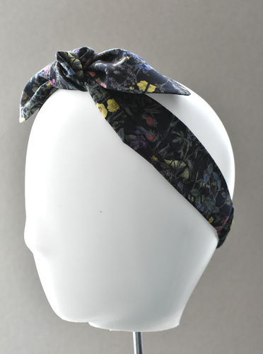 Ladies Tot Knot hairband - Liberty of London Wild Flowers in Black