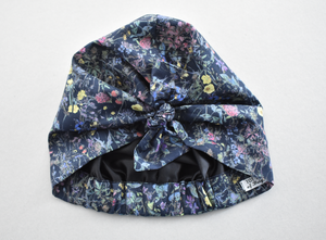 Little Land Girl Baby Hat - Liberty of London Black Wild Flowers