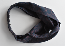 Ladies Twisted Turban Headband - Liberty of London Navy and Lilac Silhouette