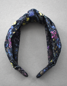 Kids Tot Knot Alice band - Liberty of London Black Wild Flowers