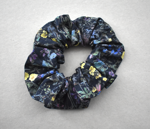 Scrunchie in Blue Black Wild Flowers Liberty print